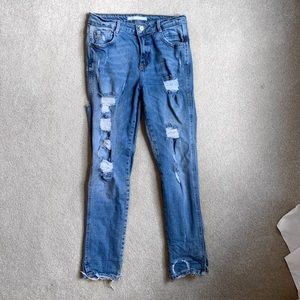 Zara high waisted distressed jeans